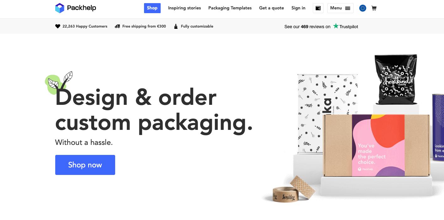 Packhelp b2b ecommerce website