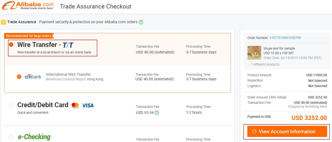 alibaba payment methods
