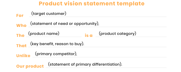 product vision statement template